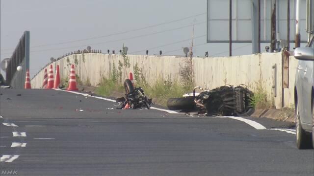 日本奈良縣奈良市31日發生3輛機車摔車事故,造成6死2傷。 取自NHK