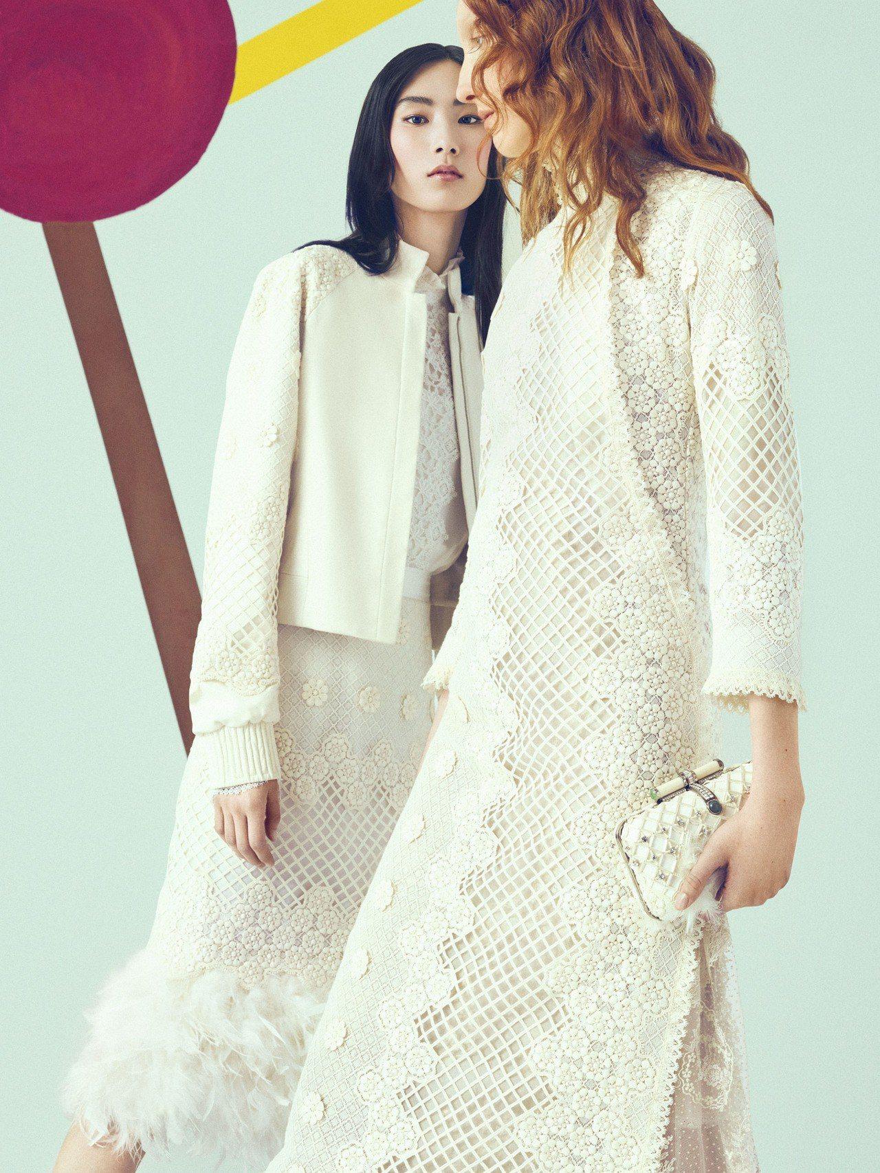 夏姿2018秋冬將品牌擅長的刺繡發揮極致,異材質拼接更多樣。圖/夏姿提供