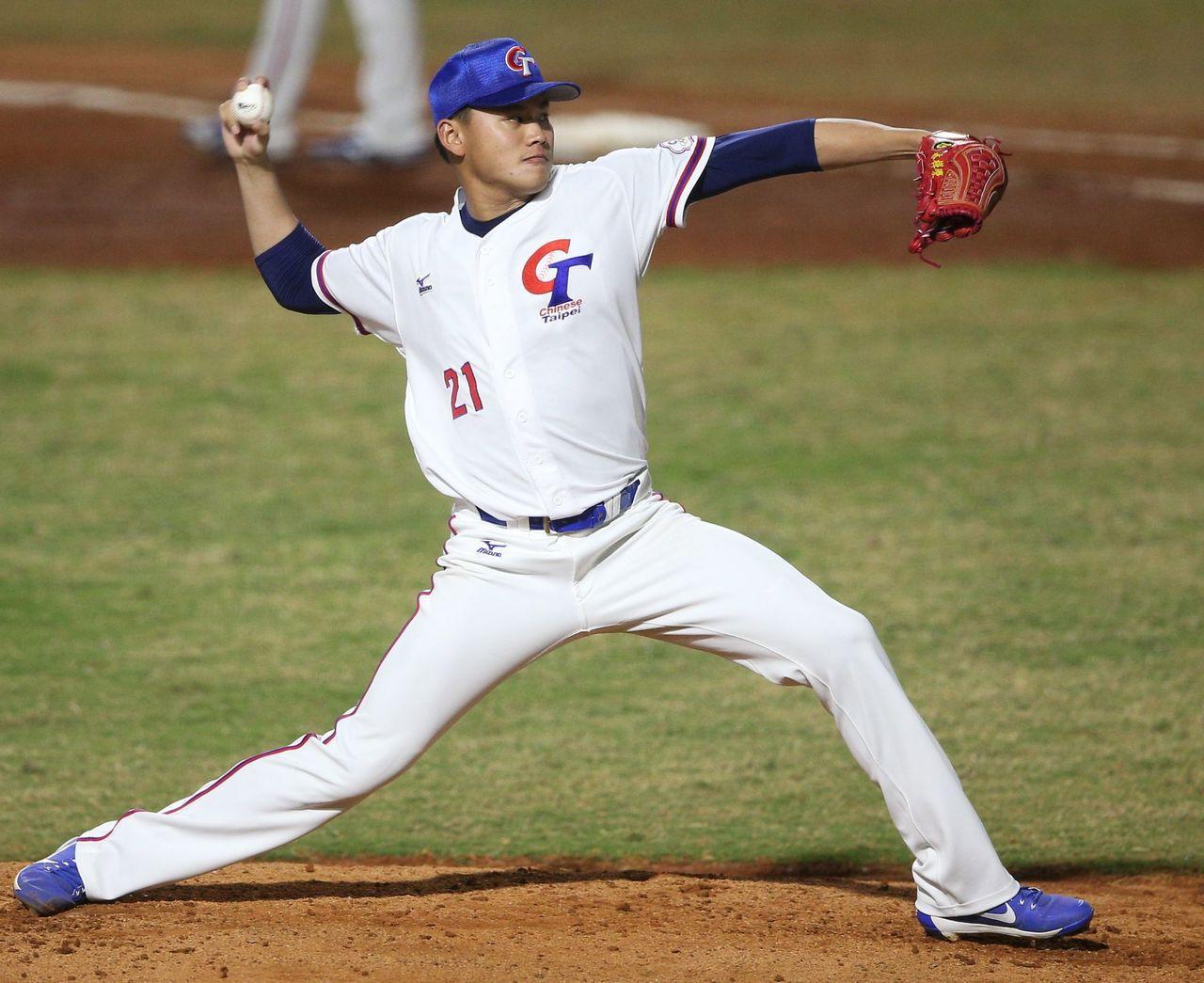雅加達亞運棒球賽,中華隊先發投手林樺慶對日本隊投5.2局失3分,吞下敗投。特派記...