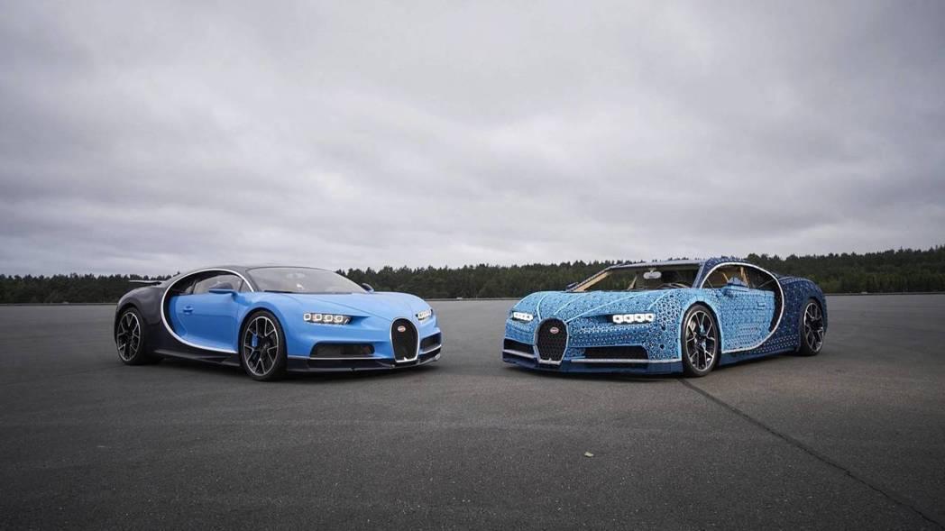 「真的」Bugatti Chiron模型車與LEGO版Bugatti Chiron。 摘自LEGO