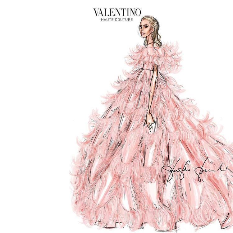 VALENTINO官方IG也放上Lady Gaga在威尼斯影展高訂服手繪圖。圖/...