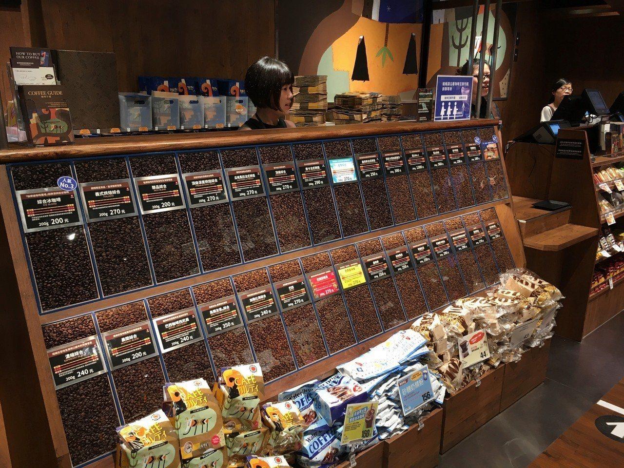 現場販售多達30種,由日本職人獨創烘焙的咖啡豆。圖/統一時代百貨提供