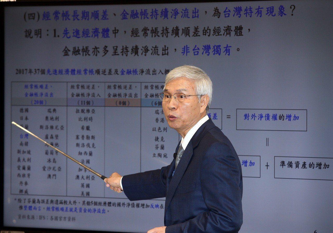 央行總裁楊金龍,日前簡報說明台灣國際收支資金淨流出一事。 圖/聯合報系資料照片