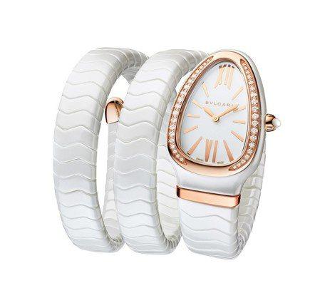 宝格丽Serpenti系列Spiga腕表,双圈白陶瓷表带、玫瑰金表壳搭配镶钻表圈...