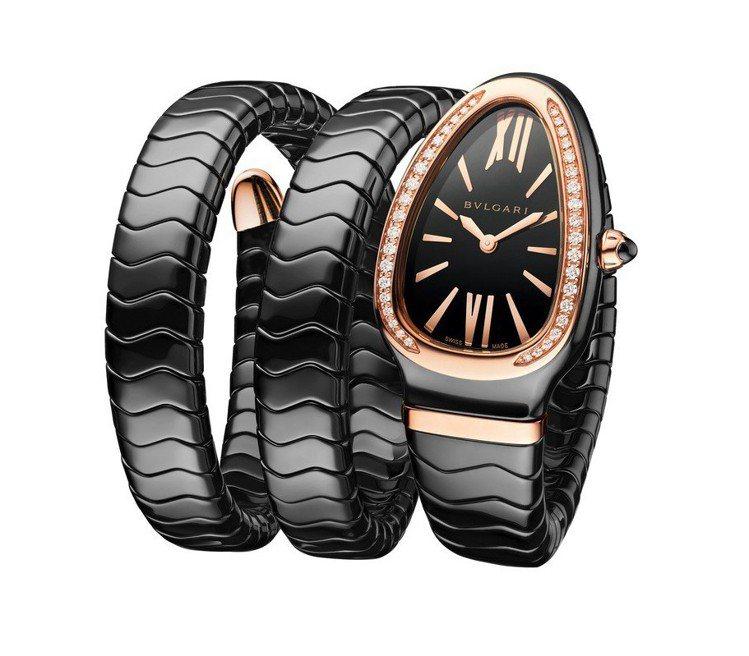 宝格丽Serpenti系列Spiga腕表,双圈黑陶瓷表带、玫瑰金表壳搭配镶钻表圈...