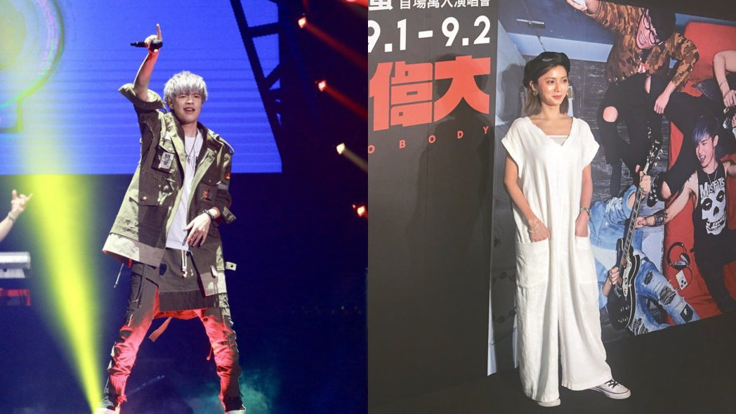 阿璞(左)八三夭樂團開唱,女友豆花妹(右)到場觀賞。 記者林伯東、梅衍儂/攝影