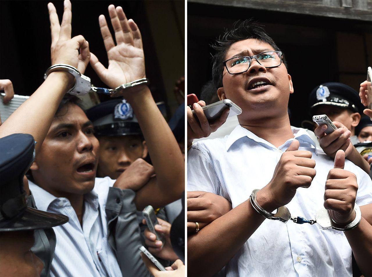路透社記者瓦隆(Wa Lone,圖右)和喬索歐(Kyaw Soe Oo,圖左)因...