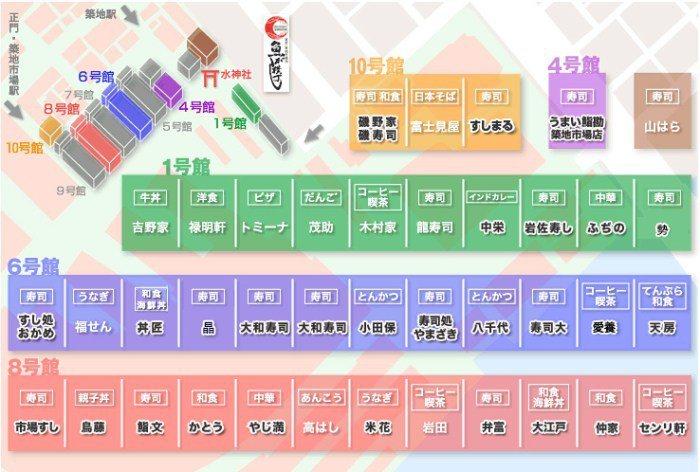築地市場內部的餐廳地圖。 圖/tsukijigourmet.or.jp
