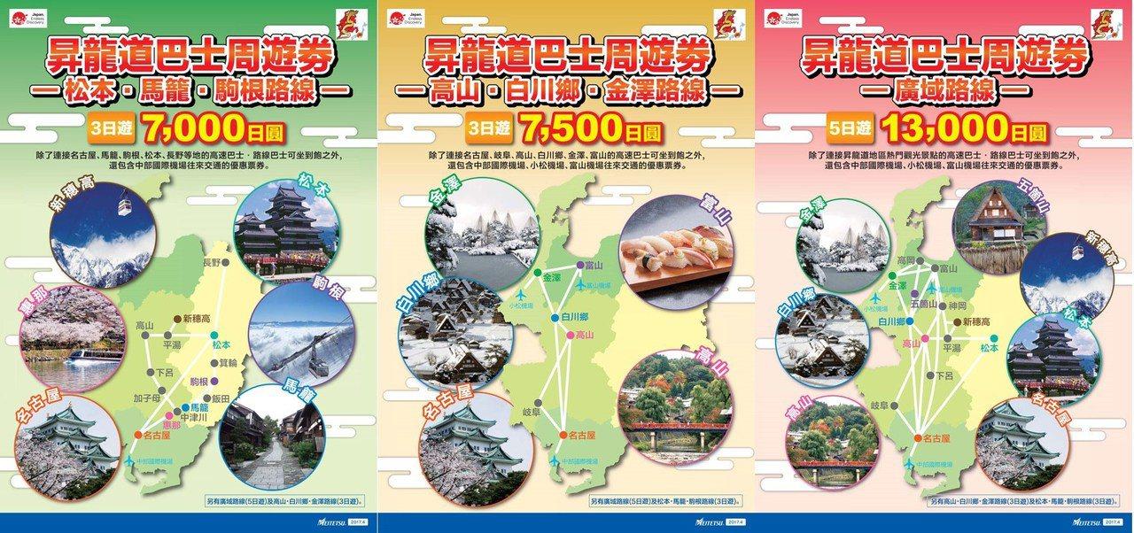 昇龍道高速巴士的種類。 圖/meitetsu.co.jp