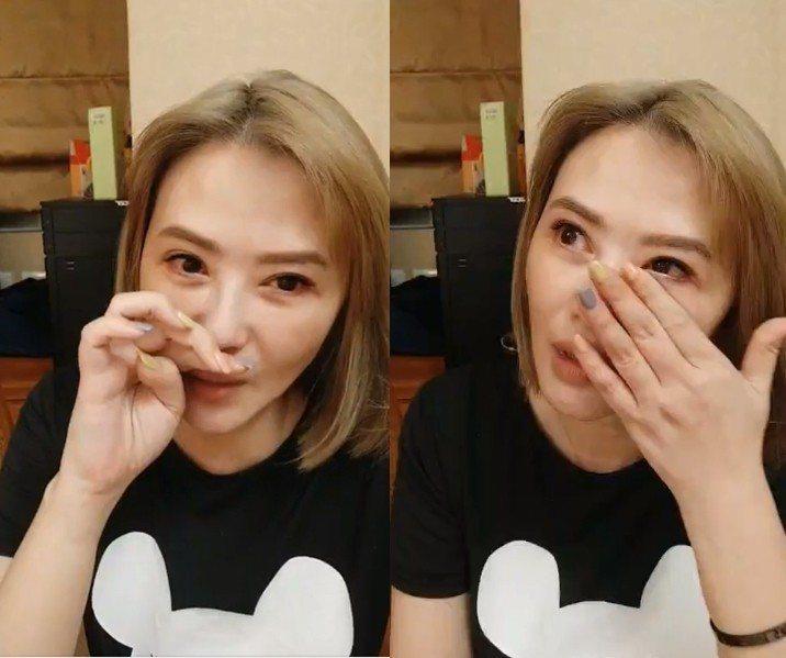 蕭淑慎在直播時自責噴淚。圖/摘自臉書