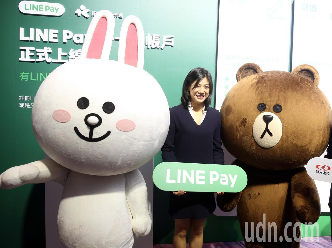 Line pay與一卡通合作,新光集團小公主吳欣儒代表新光銀行出席,笑咪咪的與熊...