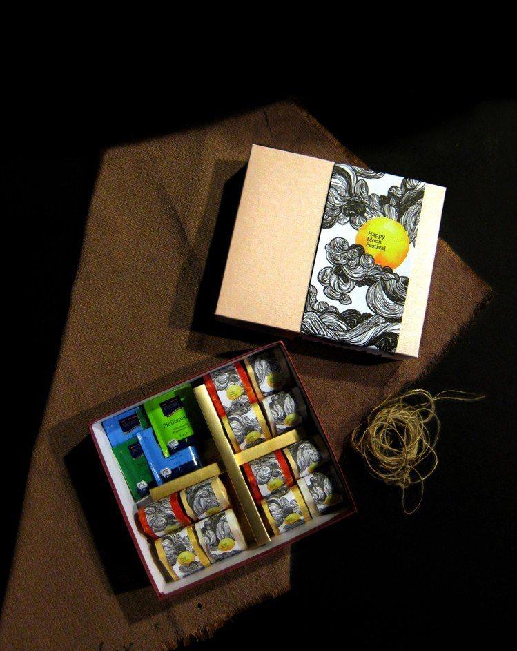 雙映成趣12入鳳梨酥配進口茶包,售價580元。圖/溫德德式烘焙餐館提供