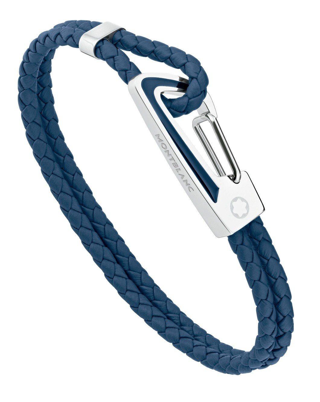 萬寶龍Star系列精鋼藍色手環,8,300元。圖/萬寶龍提供