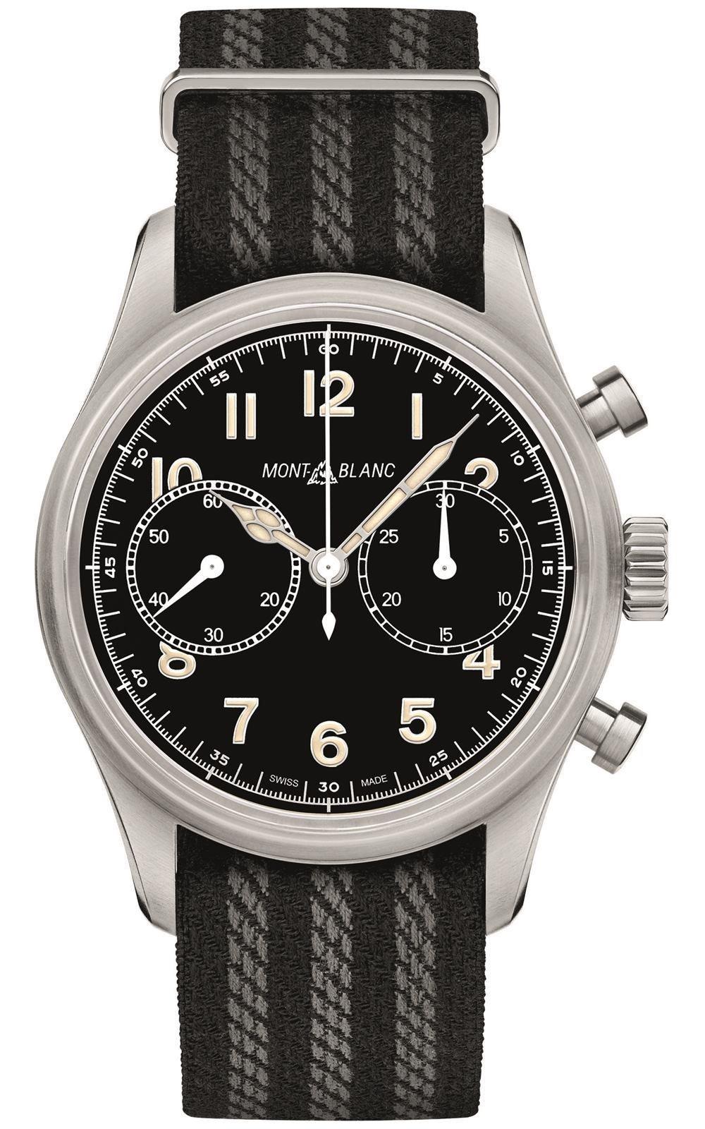 萬寶龍1858系列計時自動腕表,13萬8,000元。圖/萬寶龍提供