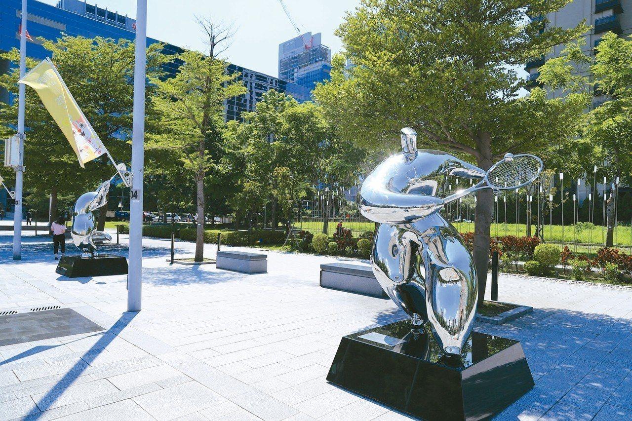 中市府昨天舉行東亞青運雕塑公園揭幕活動。 記者陳秋雲/攝影