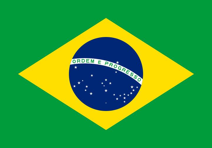 網友認為藍、綠、黃的配色是在「慶祝巴西國慶」,圖為巴西國旗/取自維基百科