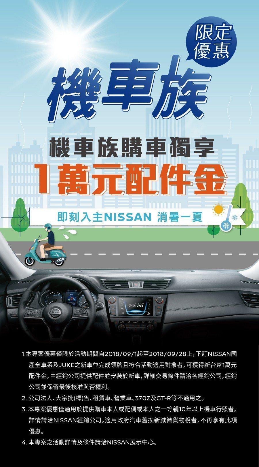 Nissan針對機車族推出購車優惠。 圖/裕隆日產提供