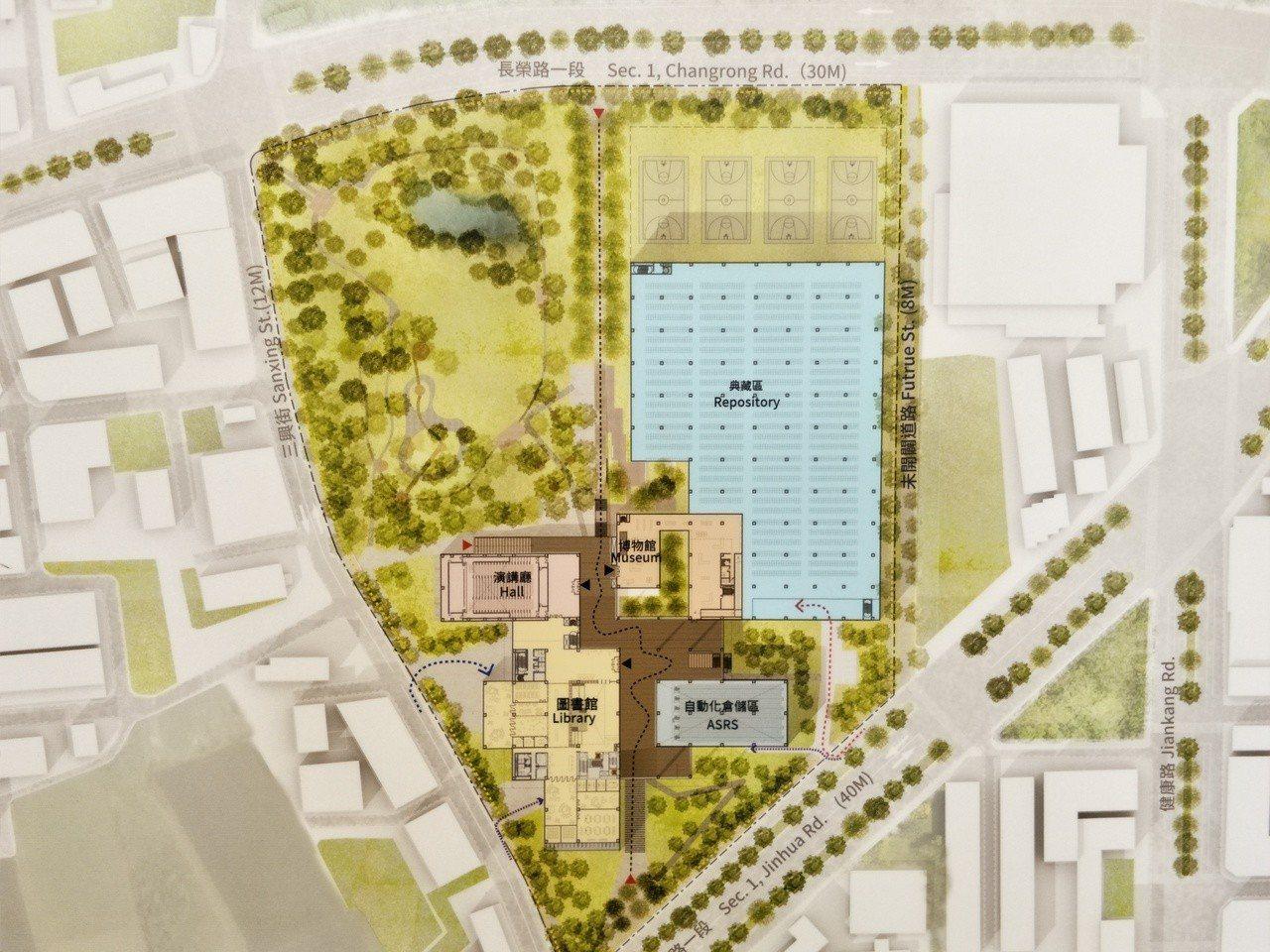 競圖出線的九典聯合建築師事務所,將規劃設計為台灣首座循環圖書館,保留基地90%的...