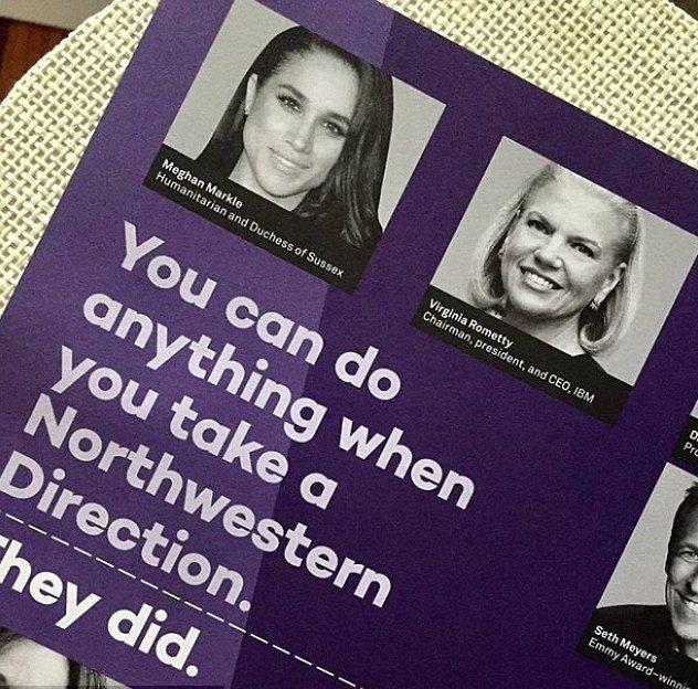 梅根在西北大學的招生廣告上成為排在第一位的傑出校友。圖/摘自Instagram