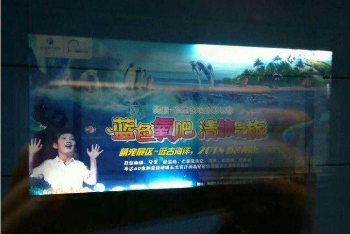 玻璃上倒映的男童臉龐原來是廣告看板 圖片來源/zhihu