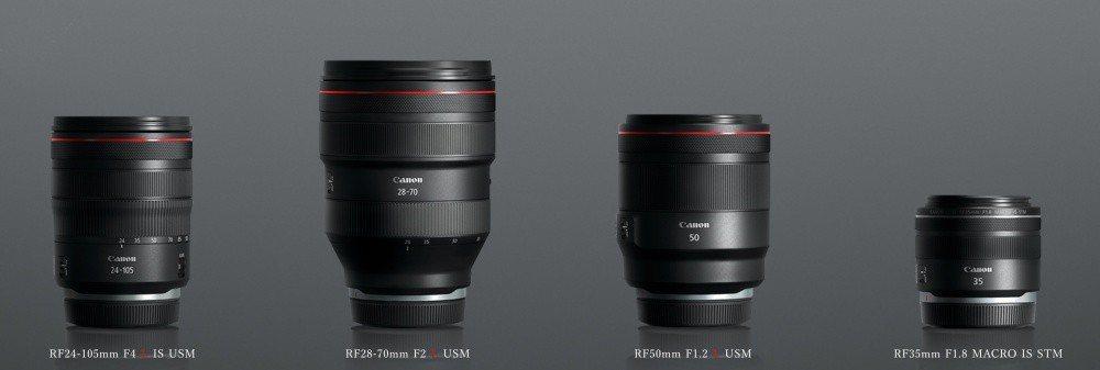 首波推出的RF系列鏡頭群包含:RF24-105mm F4 L IS USM、RF...