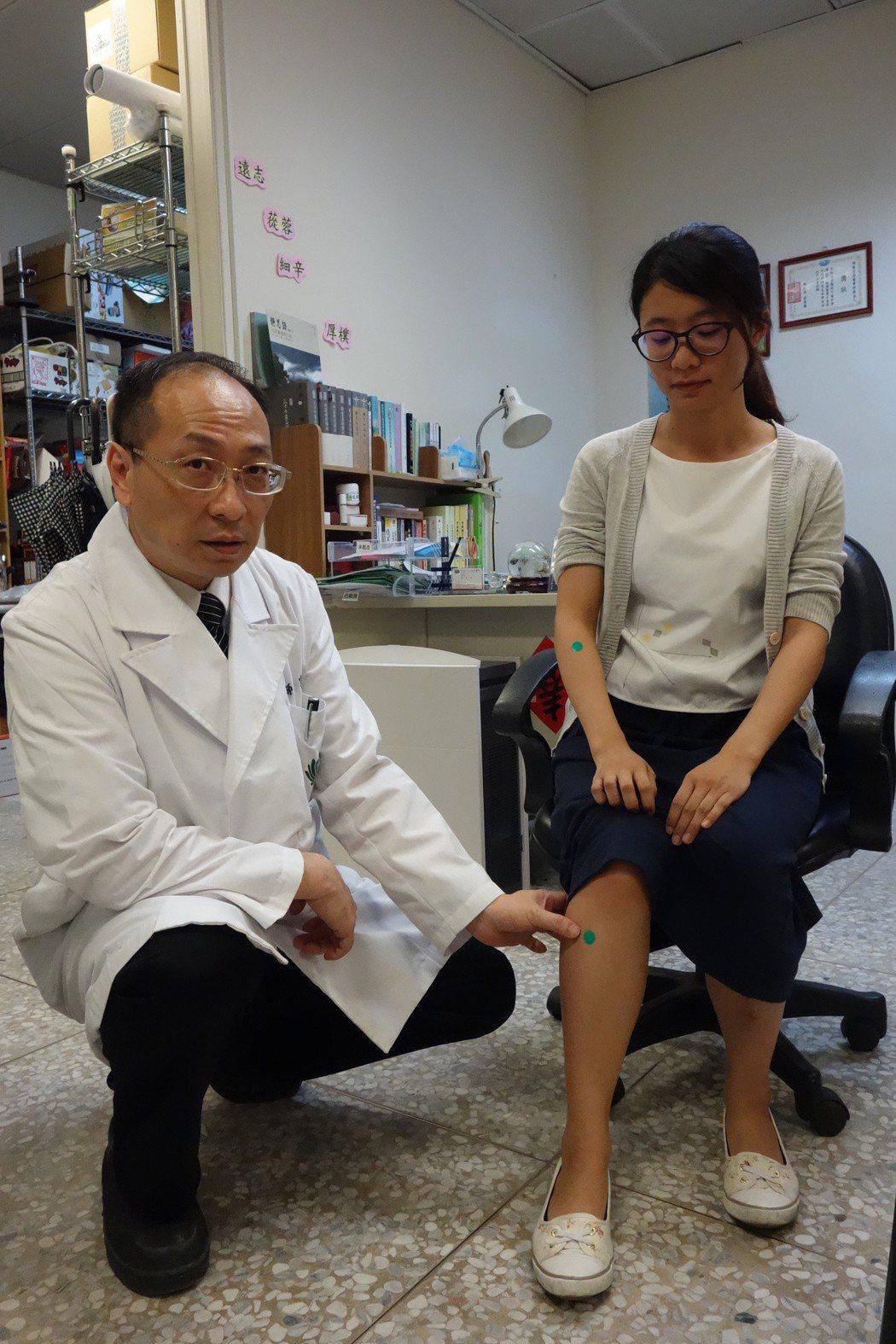 緩解災後痠痛症候群,中醫穴位按摩助恢復。圖/大林慈濟醫院提供