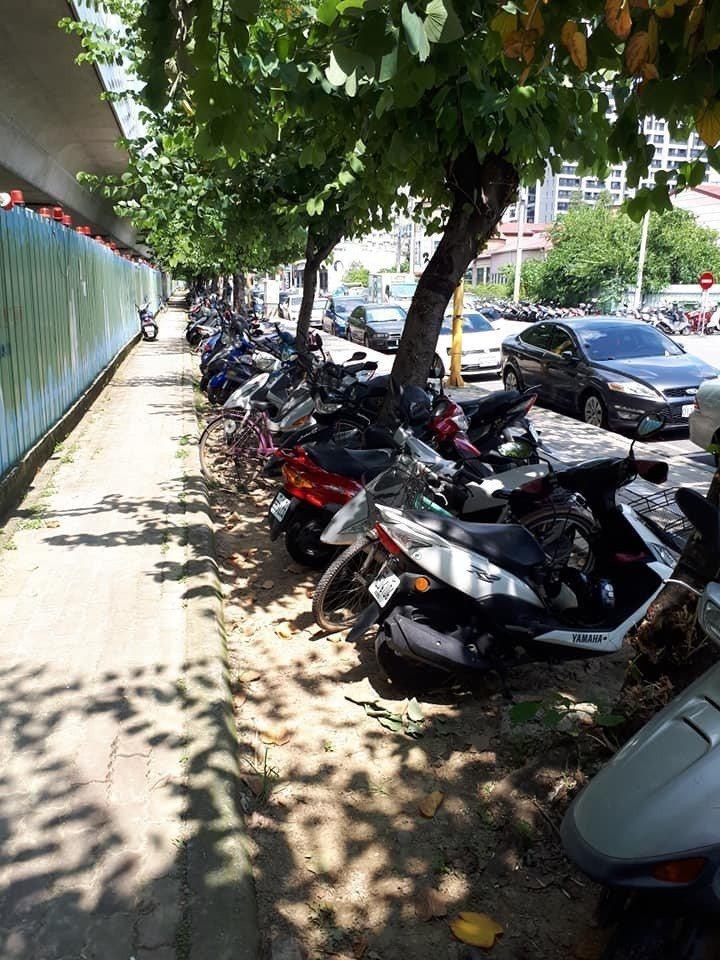 台中市有網友把機車停放在行道樹的縫隙內,因警方張貼公告要開罰,引發不滿上網批評。...