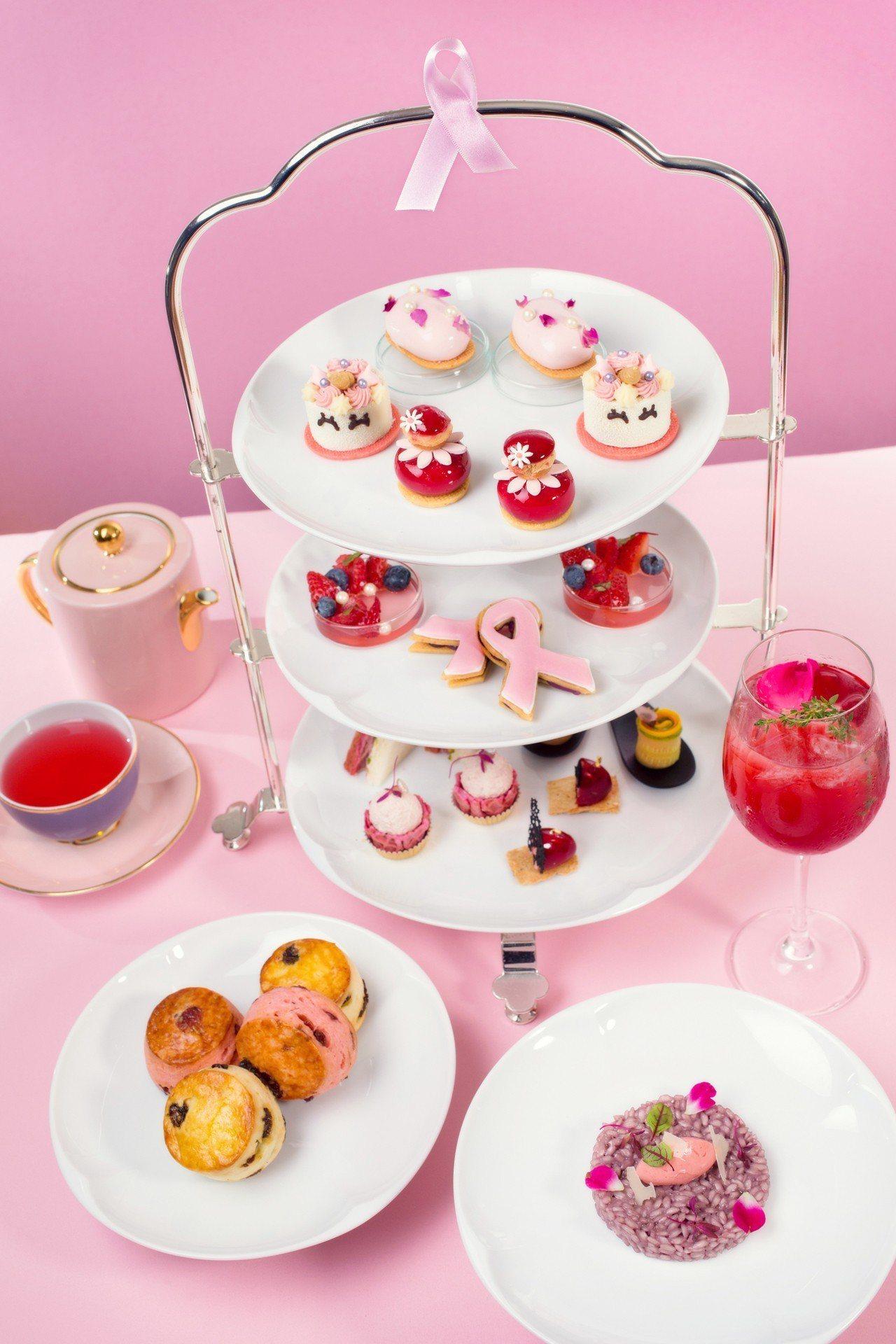 粉紅閨密雙人下午茶套餐每套1,680元+10%,均以紅色、粉紅色為主色調,展現溫...