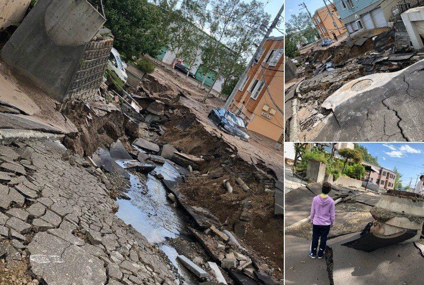 北海道強震!路面崩裂,馬路變成泥水河。圖擷自日本網友しおな推特