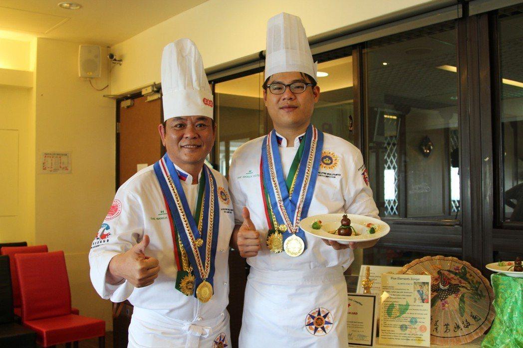 吳鳳科大餐旅管理系杜孟家老師(左)及楊凱翔同學,一同合影. 吳鳳/提供