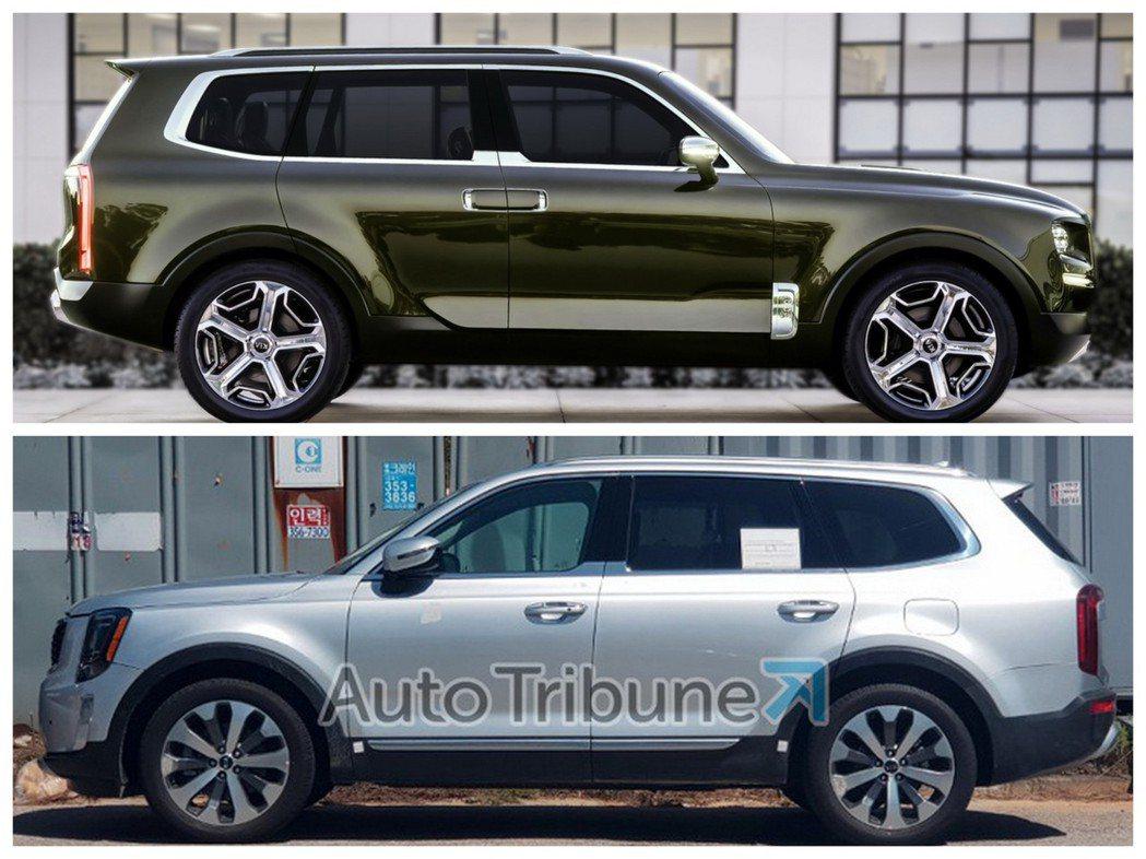Kia Telluride量產版與概念版的外型十分相似。 摘自Kia、Auto Tribune