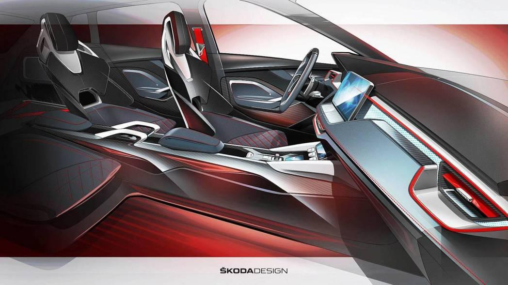 四張跑車座椅與紅色縫線點綴,突顯RS的跑格氛圍。 摘自Škoda