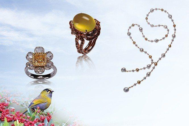 黃胸藪眉─又名藪鳥,是畫眉科的一種,為台灣特有種/珠寶提供:式雅珠寶。