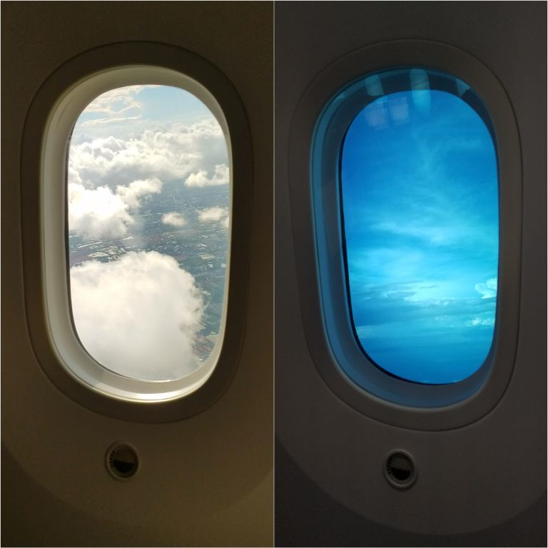 Boeing 787著名的電致色變窗戶 (electrochromic wind...
