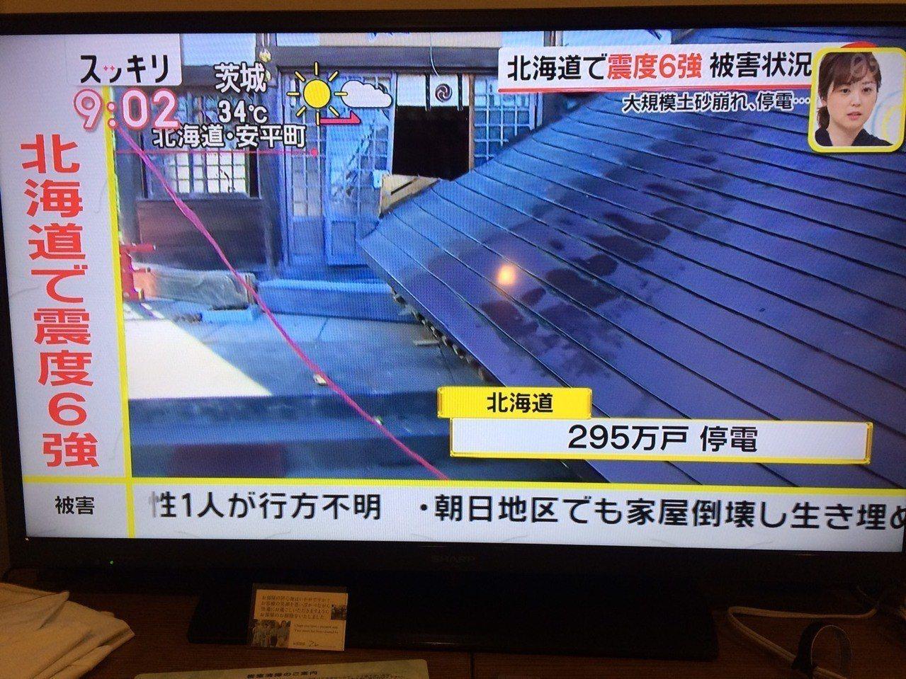 這次強震造成北海道境內大規模停水停電。記者張芳瑜/攝影