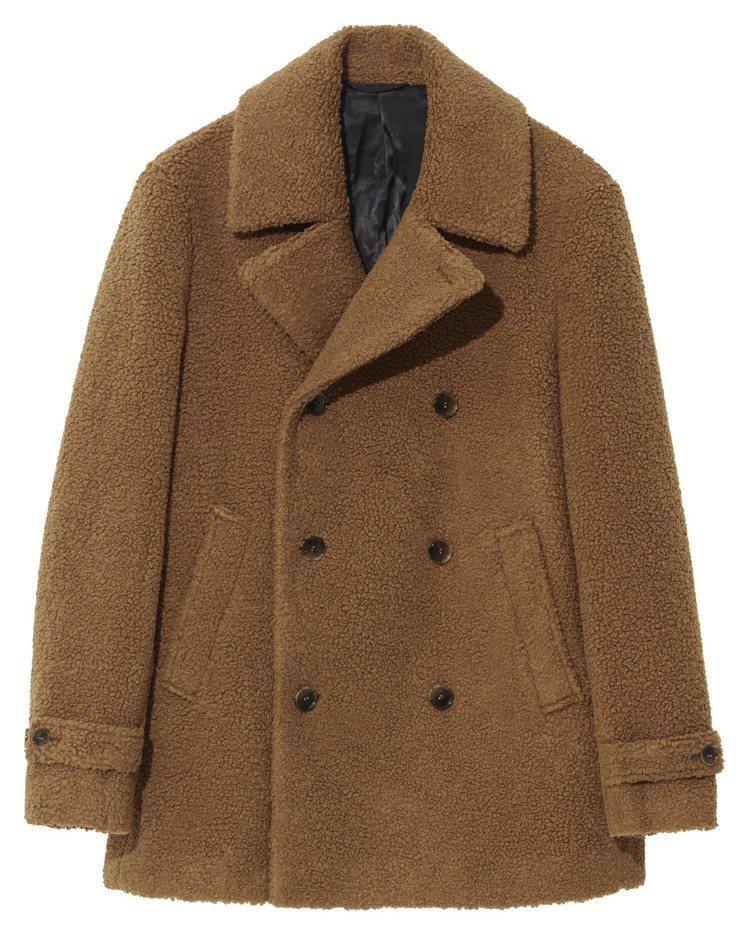 H&M Studio系列秋冬男裝起毛雙排釦大衣,3,999元。圖/H&M提供