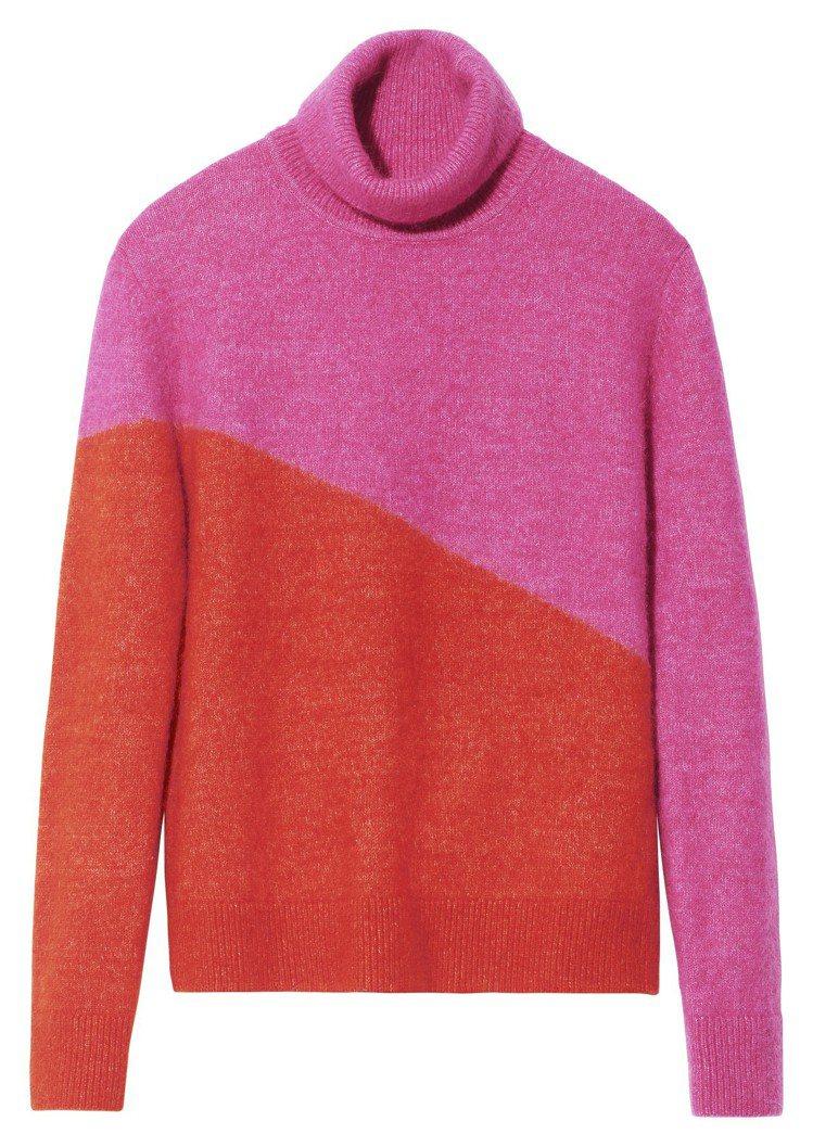 H&M Studio系列秋冬女裝霓虹色拼接套頭毛衣,3,499元。圖/H&M提供
