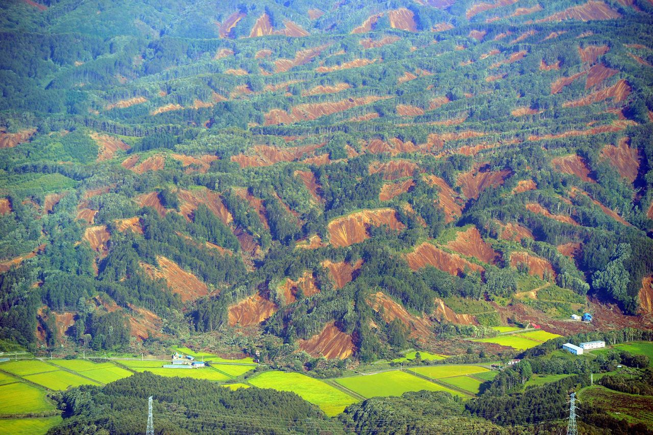 北海道厚真町的吉野地區發生大規模山崩,有十幾戶民宅受災。圖/法新社