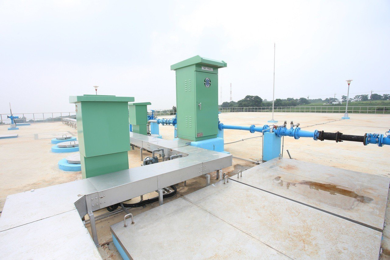 台水公司監理所配水池今天啟用,預估大肚、龍井區約1萬戶居民受惠。記者趙容萱/攝影