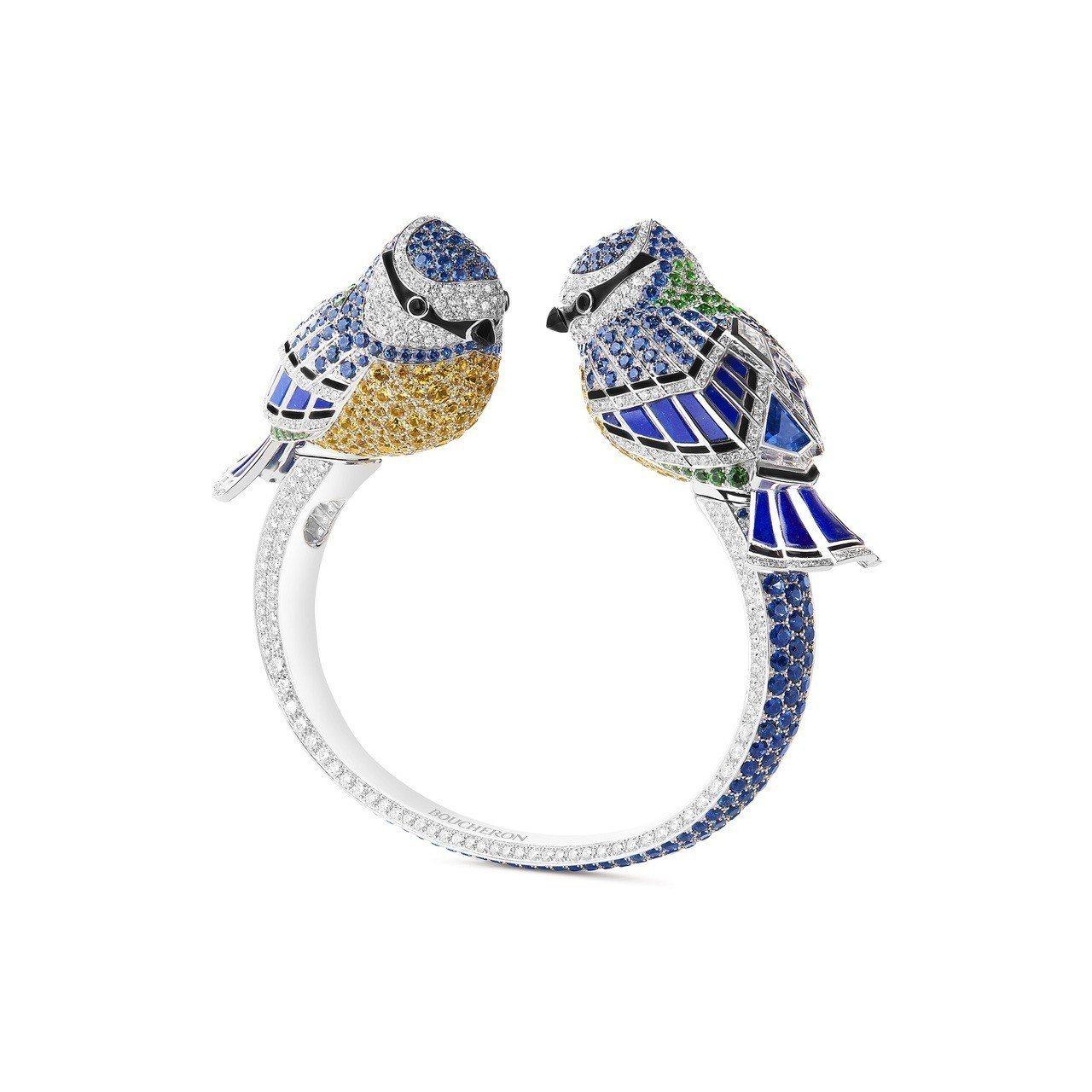 Meisa la Mésange 手鐲,白金鑲嵌青金石、黃色、綠色、藍色剛玉,...