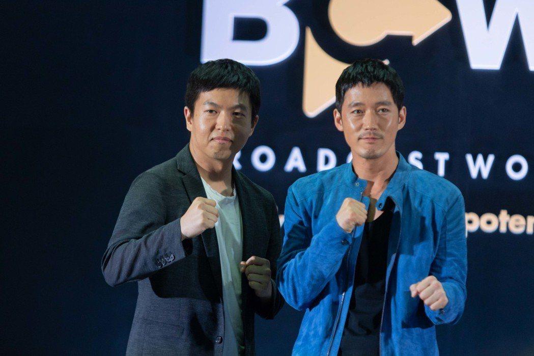 張赫6日出席新戲說明會,左為導演陳昌奎。圖/KKTV提供