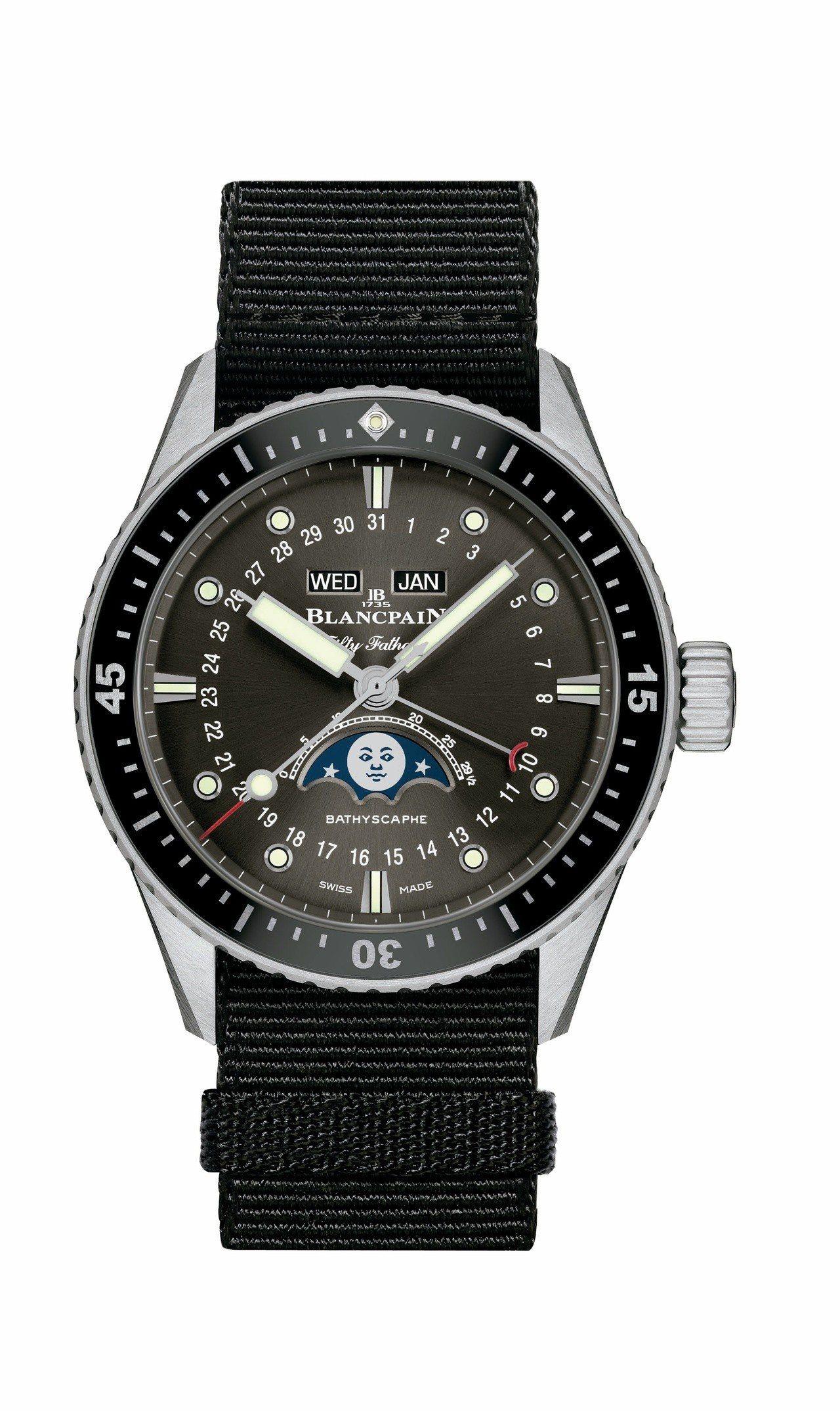 Blancpain五十噚深潛器全曆月相腕表,不鏽鋼表殼搭配單向旋轉不鏽鋼表圈,約...