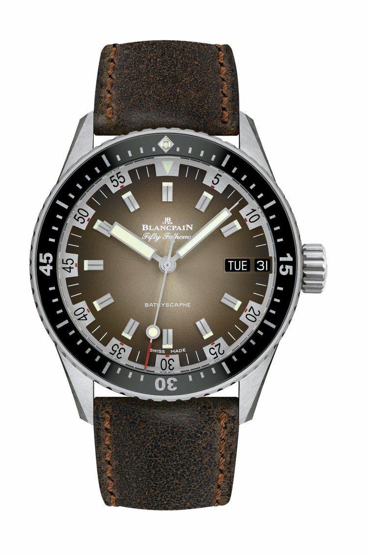 Blancpain五十噚深潛器70年代日期及星期腕表,不鏽鋼表殼搭配單向旋轉不鏽...