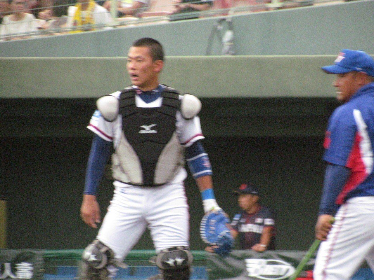 亞青棒球賽4強複賽,中華隊先發捕手戴培峰。 記者婁靖平/攝影