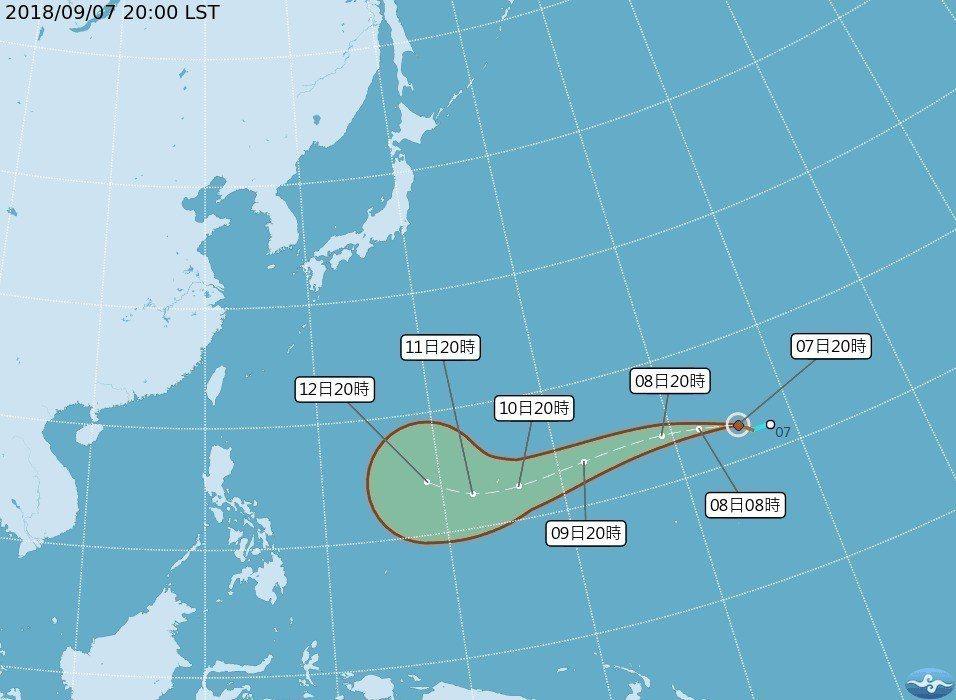 第22號颱風山竹於威克島南方海面生成,目前對台暫無影響。 圖擷自中央氣象局