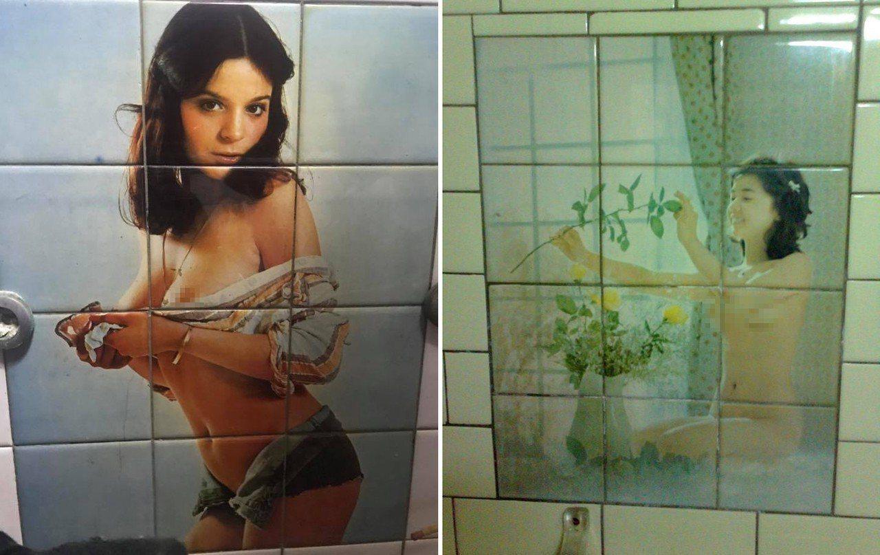 有人表示阿嬤家的浴室有裸女照片的磁磚,讓他洗澡時都很害羞。圖擷自臉書「爆廢公社」
