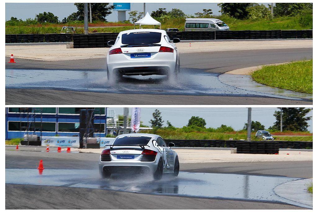 米其林Pilot Sport 4 S展現優越的抓地能力(上圖),就算突然行經濕滑路面仍盡可能保持穩定路線,這點和競品(下圖)的差異性就相當明顯。 記者張振群/攝影