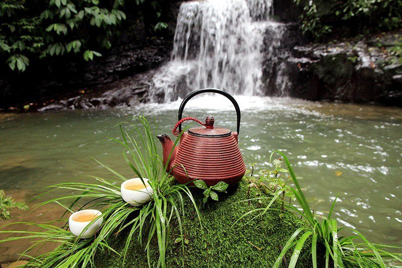 鐵器、鐵壺煮茶,保溫效果好,在沁涼的溪畔也不擔心茶涼。  攝影|行遍天下