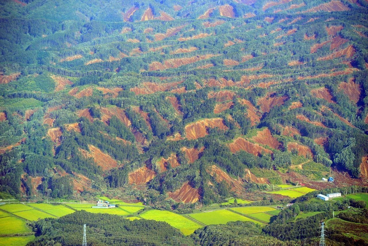 北海道厚真町的吉野地區因地震發生大規模山崩。法新社