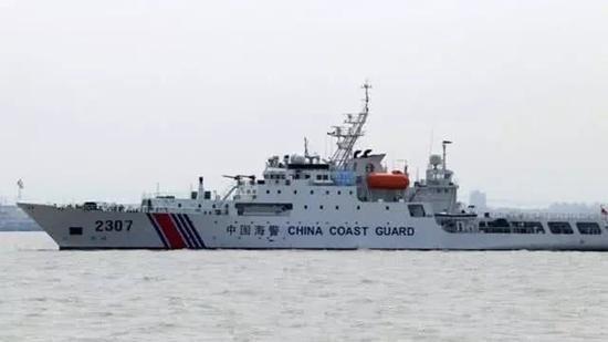 海警2307艦艇編隊持續九天在釣魚島領海內巡航。取自環球時報